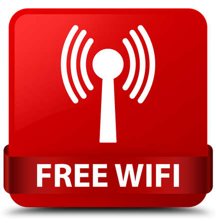 Free wifi (wlan network) isolated on red square button with red ribbon in middle abstract illustration
