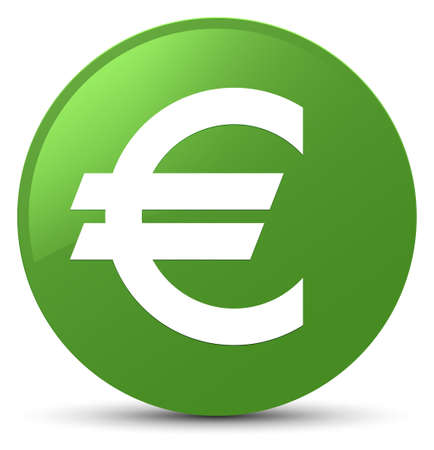 Euro sign icon isolated on soft green round button abstract illustration