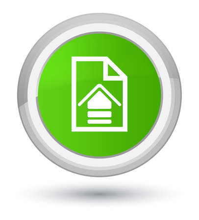 Upload document icon isolated on prime soft green round button abstract illustration