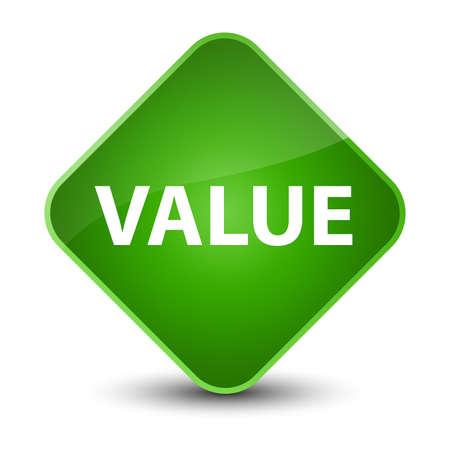 Value isolated on elegant green diamond button abstract illustration