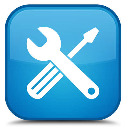 Tools icon isolated on special cyan blue square button abstract illustration Stock Photo