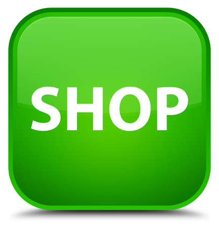 Shop isolated on special green square button abstract illustration Stock Photo