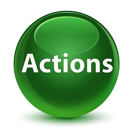 Actions isolated on glassy soft green round button abstract illustration Фото со стока