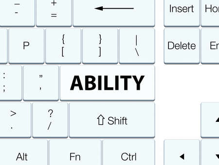 Ability isolated on white keyboard button abstract illustration