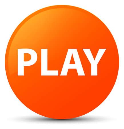 Play isolated on orange round button abstract illustration Stock Photo