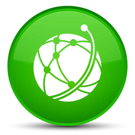Global network icon isolated on special green round button abstract illustration