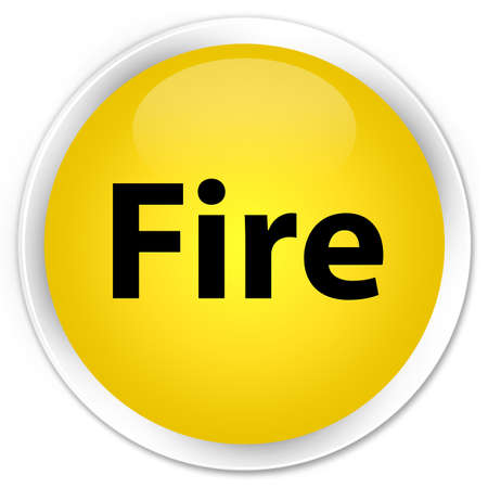 Fire isolated on premium yellow round button abstract illustration