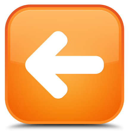Back arrow icon isolated on special orange square button abstract illustration