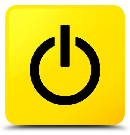 Power icon isolated on yellow square button abstract illustration Stock Photo