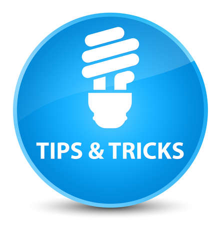Tips and tricks (bulb icon) isolated on elegant cyan blue round button abstract illustration