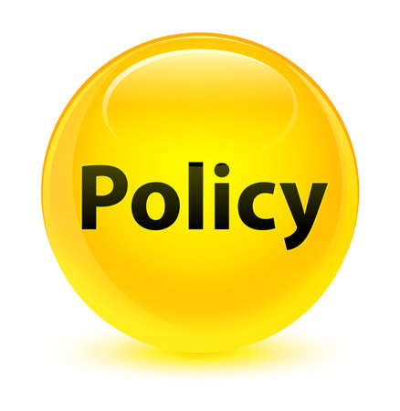 Policy isolated on glassy yellow round button abstract illustration