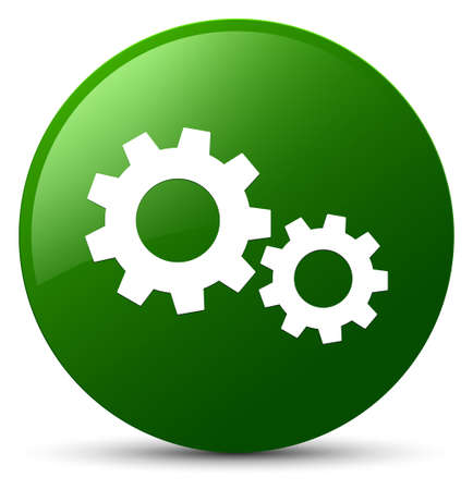 Process icon isolated on green round button abstract illustration