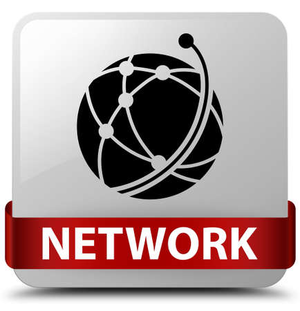 Network (global network icon) isolated on white square button with red ribbon in middle abstract illustration