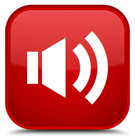 red sound: Volume icon isolated on special red square button abstract illustration