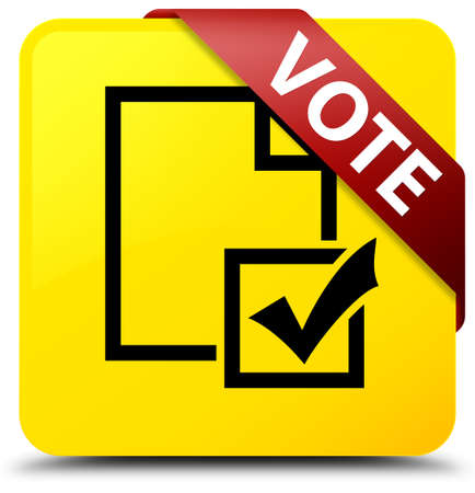 Vote (survey icon) isolated on yellow square button with red ribbon in corner abstract illustration