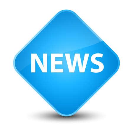 bulletin: News isolated on elegant cyan blue diamond button abstract illustration
