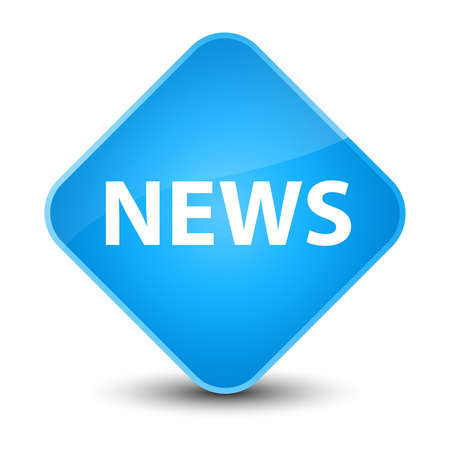 News isolated on elegant cyan blue diamond button abstract illustration