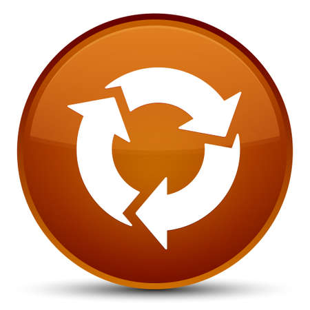 improving: Refresh icon isolated on special brown round button abstract illustration