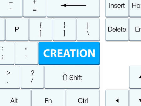 Creation isolated on cyan blue keyboard button abstract illustration Stok Fotoğraf