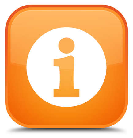 Info icon isolated on special orange square button abstract illustration