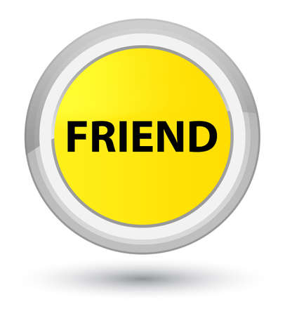 Friend isolated on prime yellow round button abstract illustration