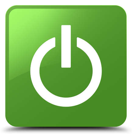Power icon isolated on soft green square button abstract illustration