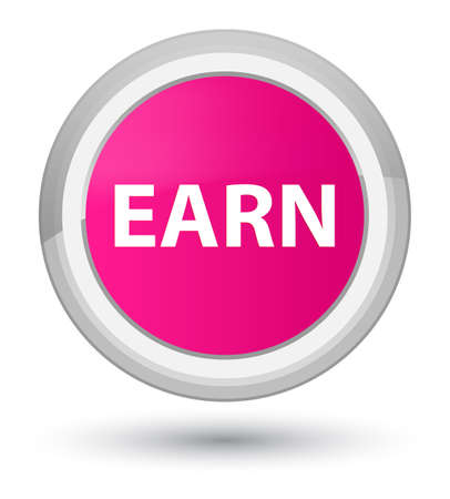 Earn isolated on prime pink round button abstract illustration