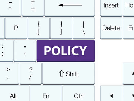 Policy isolated on purple keyboard button abstract illustration