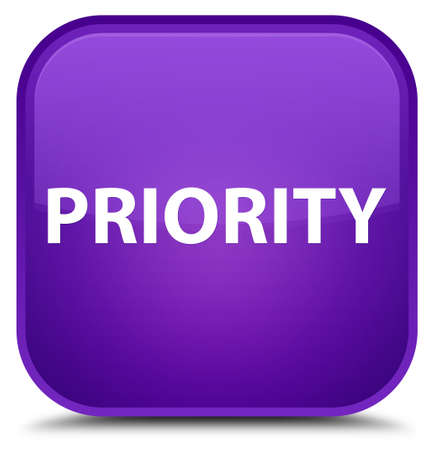 Priority isolated on special purple square button abstract illustration Фото со стока
