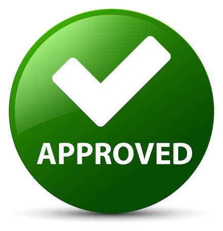 Approved (validate icon) isolated on green round button abstract illustration
