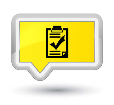 Checklist icon isolated on prime yellow banner button abstract illustration Stock Photo