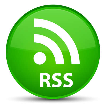 RSS isolated on special green round button abstract illustration Stock Photo