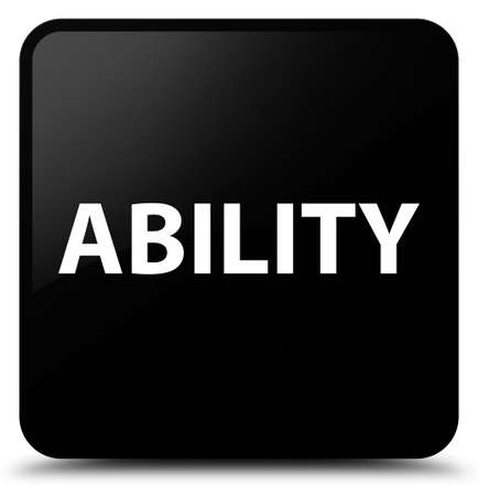 Ability isolated on black square button abstract illustration Stock Photo