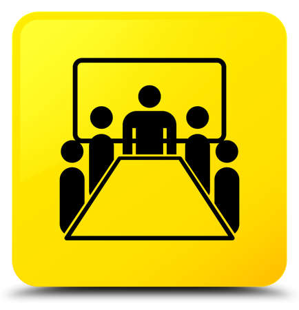 Meeting room icon isolated on yellow square button abstract illustration