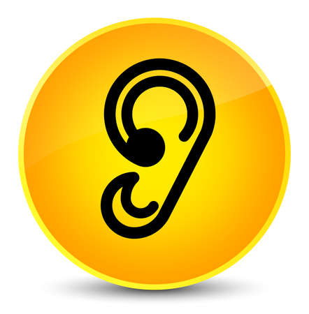 Ear icon isolated on elegant yellow round button abstract illustration