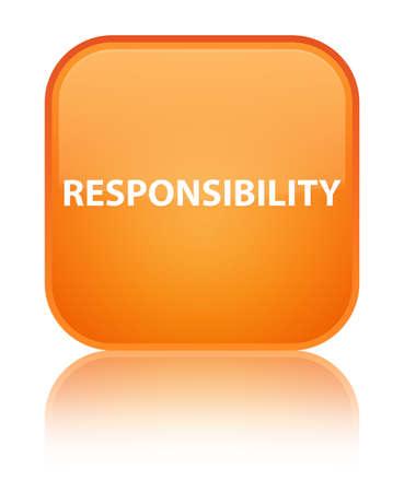 De verantwoordelijkheid op speciale oranje vierkante knoop wordt geïsoleerd wees op abstracte illustratie die