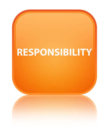 Responsibility isolated on special orange square button reflected abstract illustration