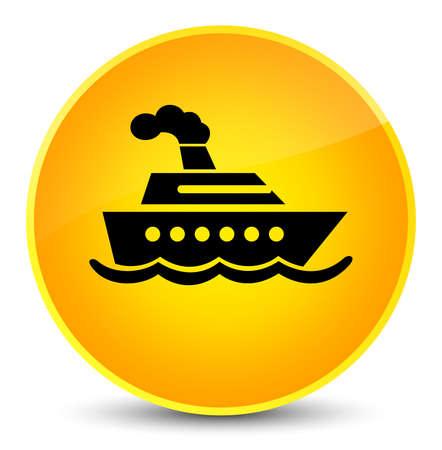 Cruise ship icon isolated on elegant yellow round button abstract illustration Stock Photo
