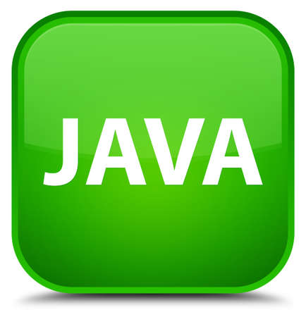 Java isolated on special green square button abstract illustration