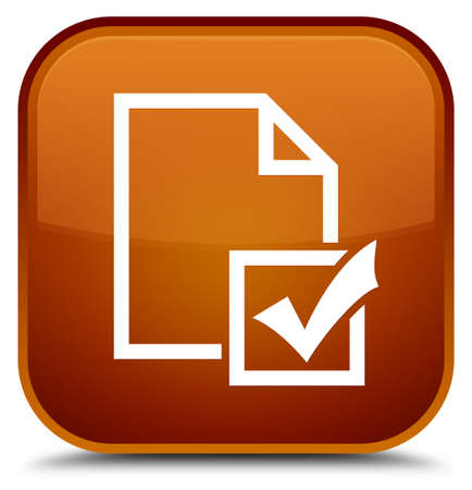 Survey icon isolated on special brown square button abstract illustration