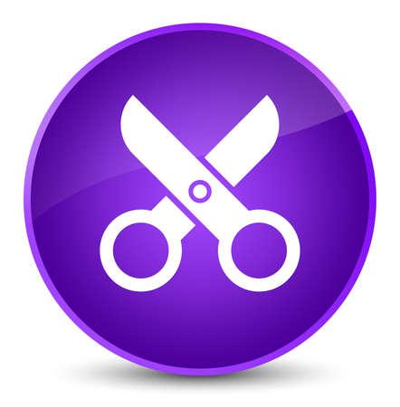 Scissors icon isolated on elegant purple round button abstract illustration Stock Photo