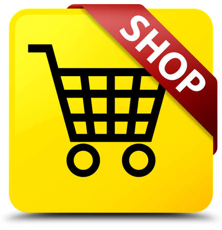 Shop isolated on yellow square button with red ribbon in corner abstract illustration