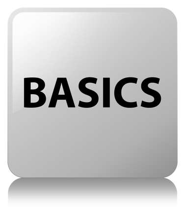 Basics isolated on white square button reflected abstract illustration