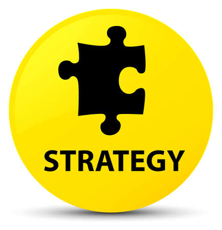 tactics: Strategy (puzzle icon) isolated on yellow round button abstract illustration