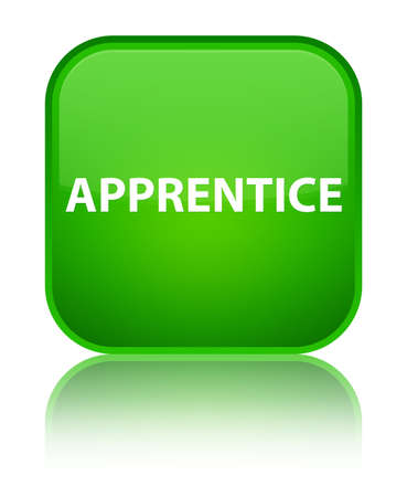 trainee: Apprentice isolated on special green square button reflected abstract illustration