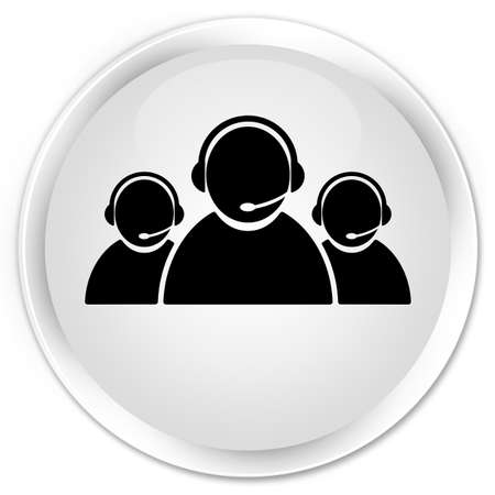 Customer care team icon isolated on premium white round button abstract illustration Stock Photo