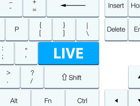 Live isolated on cyan blue keyboard button abstract illustration