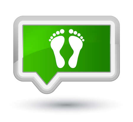 Footprint icon isolated on prime green banner button abstract illustration