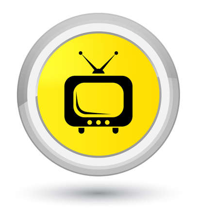 TV icon isolated on prime yellow round button abstract illustration
