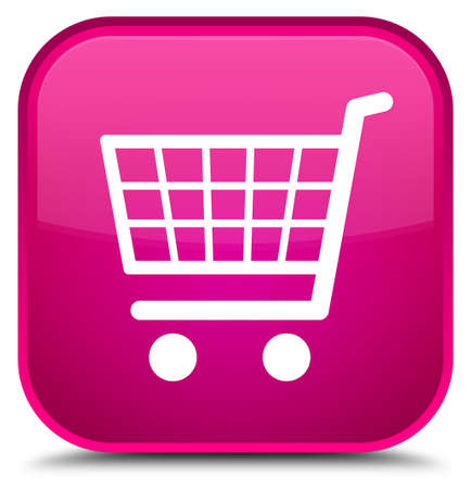 Ecommerce icon isolated on special pink square button abstract illustration